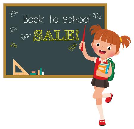 cartoon school girl: Stock Vector cartoon illustration of a girl pupil at a school board with the inscription sale Illustration