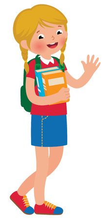greets: Stock Vector cartoon illustration of a girl student of full length with textbooks isolated on a white background