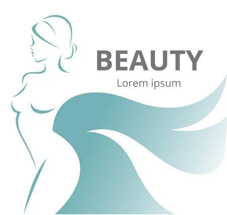 Vector Illustration einer stilisierten Silhouette von einem schönen Mädchen auf weißem Hintergrund isoliert