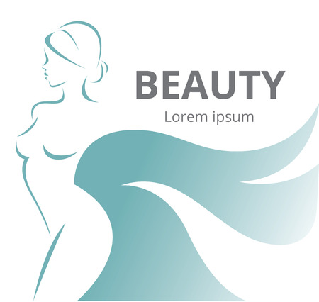 woman in spa: Vector illustration of a stylized silhouette of a beautiful girl isolated on white background Illustration