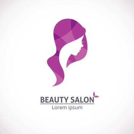 美しさ: 美容サロンにおけるベクトル テンプレートの抽象的なロゴ様式若い美しい女性のプロフィール