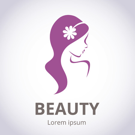 salon background: Abstract logo for beauty salon stylized profile of a young beautiful woman Illustration