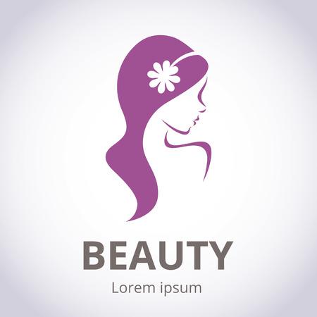 skönhet: Abstrakt logo för skönhetssalong stiliserad profil av en ung vacker kvinna Illustration