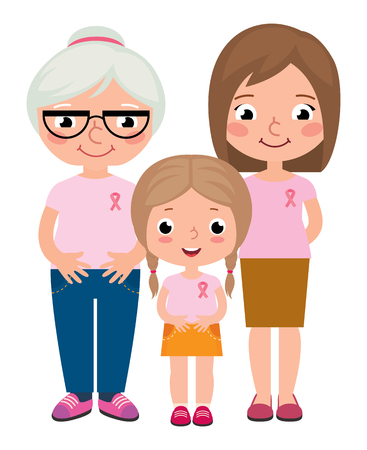 cancer ribbons: Stock vector cartoon illustration three generations of women grandmother mother and daughter wearing pink shirt and ribbons for breast cancer on white background