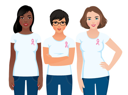 cancer symbol: Stock vector illustration of a woman activist community awareness of breast cancer Illustration