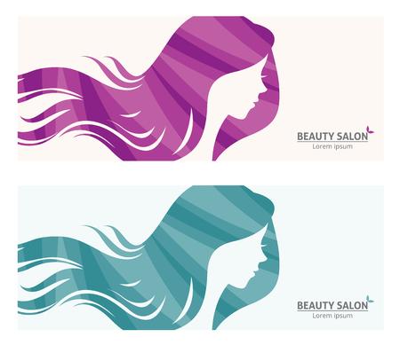 テンプレート バナーまたはビジネス カード様式化された長い髪の女性のビューティー サロンのプロファイル図