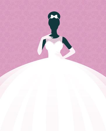 Stock illustration d'une jeune mariée dans une robe de mariée Vecteurs