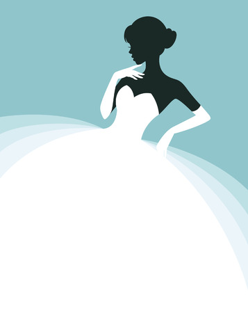 party dress: Stock vector illustration of a beautiful woman in a wedding dress, invitation or flyer template for the bride show
