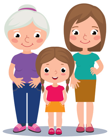 grandmother mother daughter: Stock illustration of three generations of women