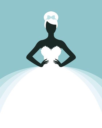 Stock vector illustration of a beautiful woman in a wedding dress, invitation or flyer template for the bride show
