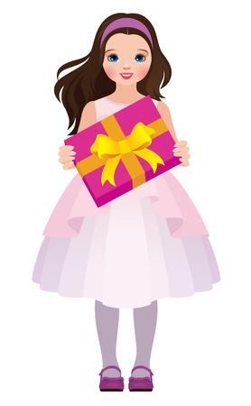 little girls: Stock vector illustration Little girl holding a box with a gift isolated on white background in full length Illustration