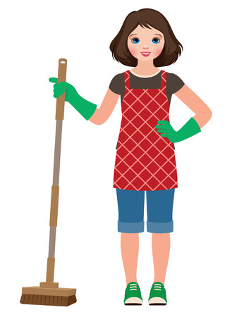 helpers: Vector illustration of a little girl helping to do homework.