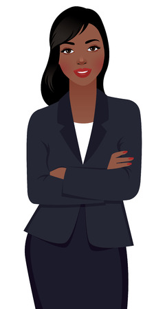 Stock vector illustration of a young female African American businessman in a business suit isolated on white background Illustration