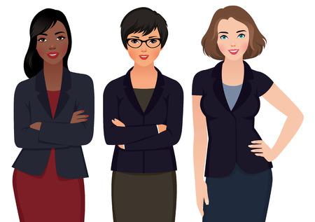 niñas sonriendo: Ilustración vectorial Foto de mujer multi étnica de negocios en trajes de negocios aislados en un fondo blanco