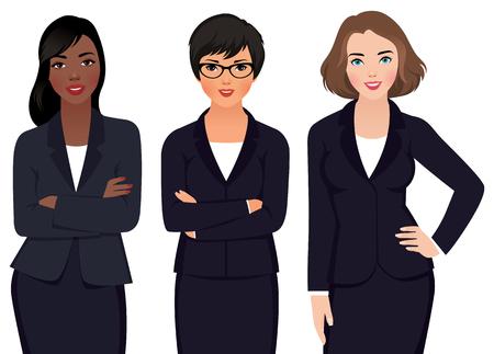 Illustrazione vettoriali di multi etnica donna d'affari in giacca e cravatta isolati su uno sfondo bianco Archivio Fotografico - 46567630