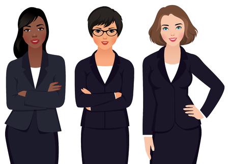 Stock vector illustration of multi ethnic business woman in business suits isolated on a white background