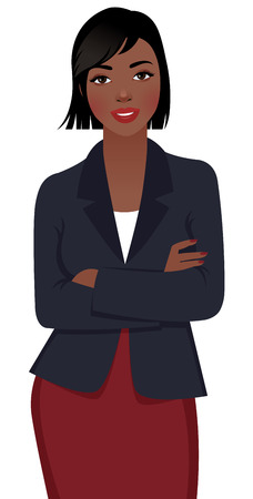 Stock vector illustration of a young female African American businessman in a business suit isolated on white background Vettoriali
