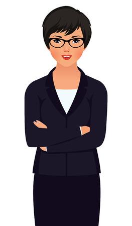 白い背景で隔離のビジネス スーツの若い女性アジア系のビジネスマンの株式ベクトル図  イラスト・ベクター素材