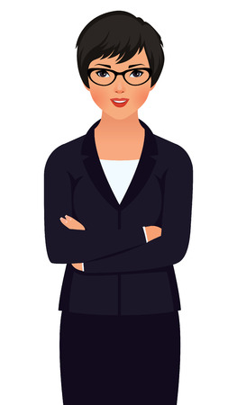 Stock vector illustration of a young woman asian businessman in a business suit isolated on white background