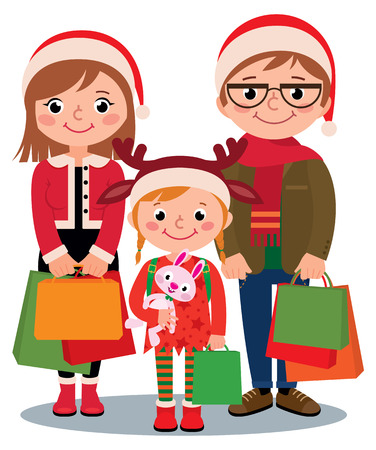 kid shopping: Cartoon vector illustration of a happy family with Christmas shopping