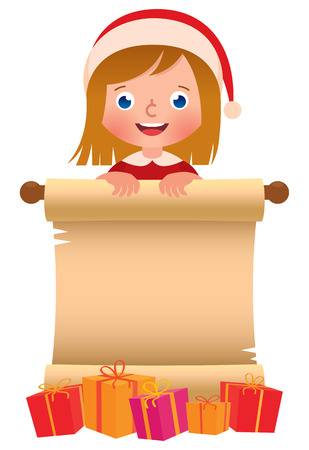 little: Cartoon vector illustration of a little girl in Santa Claus hat with a scroll and boxes of Christmas gifts isolated on a white background