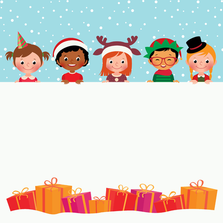 Stock vector illustration of Christmas Card Children in holiday costumes and gifts Illustration