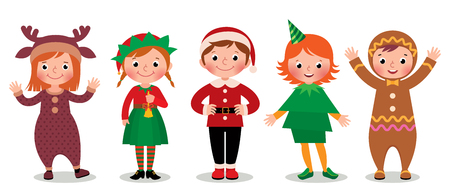 personas saludandose: Ilustraci�n vectorial de dibujos animados de un grupo de ni�os en traje de la Navidad aislado en el fondo blanco