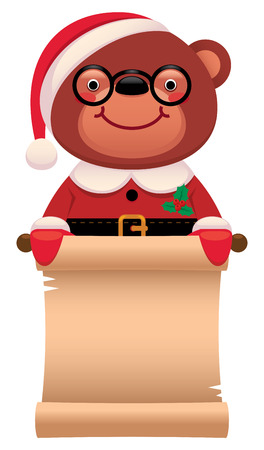 cute teddy bear: Cartoon vector illustration Teddy bear Santa Claus with Christmas scroll isolated on white background