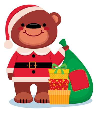 claus: Cartoon vector illustration Teddy bear Santa Claus with Christmas gifts isolated on a white background