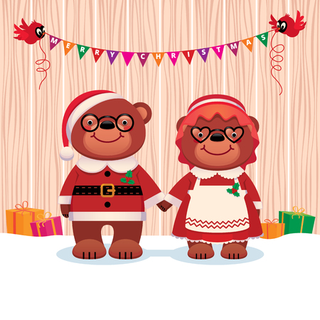 elderly couple: Cartoon vector illustration of a a married couple Bear Santa Claus and his wife isolated on white background Illustration