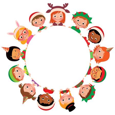 circulo de personas: ilustración vectorial de dibujos animados de los niños del mundo en trajes de Navidad en el círculo aislado en el fondo blanco