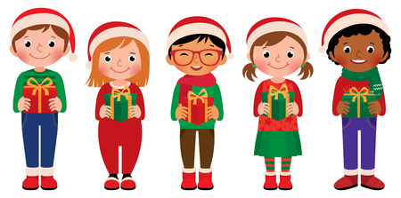 santa girl: Cartoon vector illustration of children in full length with Christmas gifts isolated on white background Illustration