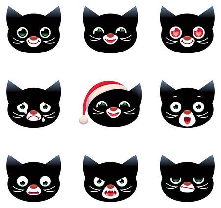 head of animal: Set of vector cartoon smilies black cats