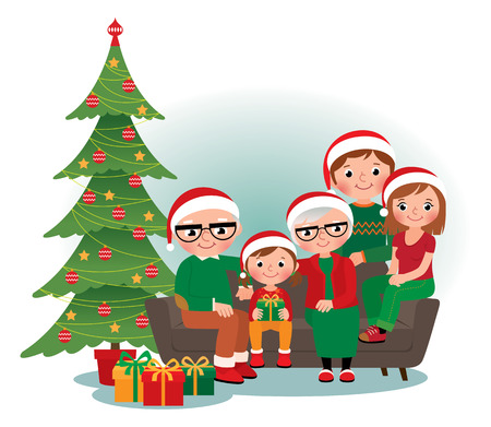 mom and dad: Cartoon vector illustration of a Christmas family portrait