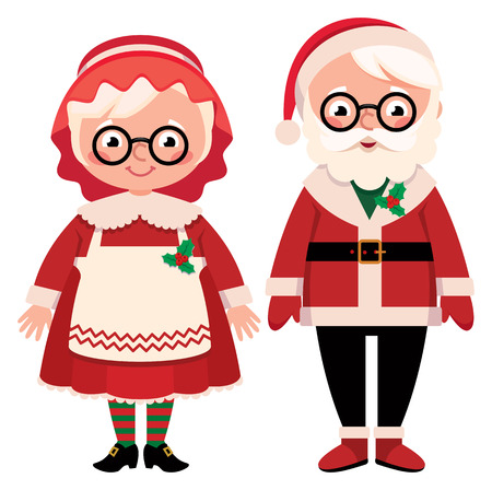 spouses: Vector illustration Couple spouses mister and missus Santa Claus isolated on white background Illustration
