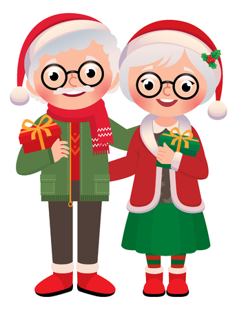 old people smiling: Stock Vector cartoon illustration of an older married couple with Christmas gifts isolated on white background Illustration