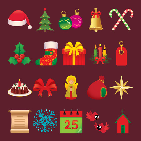 christmas accessories: Set of vector icons twenty symbols and accessories Christmas Illustration