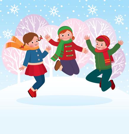 Vector children: vector Cổ minh hoạ của một nhóm trẻ em nhảy và chơi trong tuyết vào mùa đông