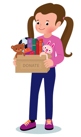 giving: Illustration of child holding a toy box for donations