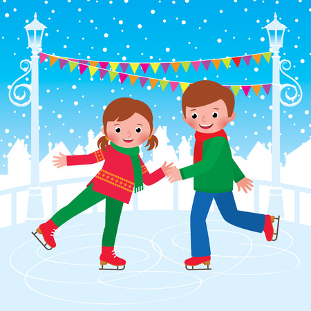Stock vector illustration of Children skating at the ice rink Illustration