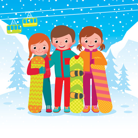 people nature: Stock vector illustration of a group of children snowboarders with snowboards at ski resort