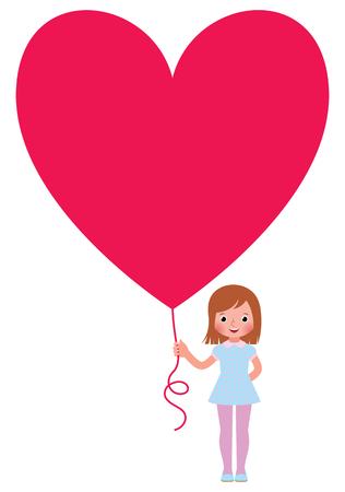 funny face: Stock vector illustration young woman gives a Valentine a heart isolated on white background