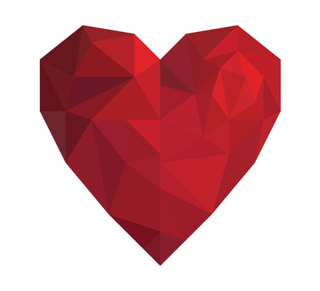 Vector illustration red heart in low poly triangle style for Valentine Day isolated on white background