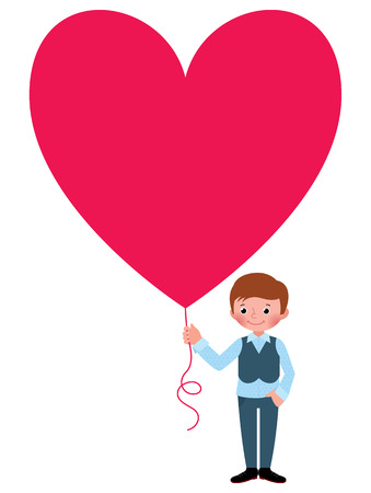 emotions faces: Stock vector illustration Young man gives a Valentine a heart isolated on white background