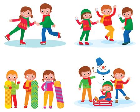 snowballs: Stock vector illustration set for children winter activities isolated on white background