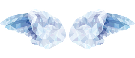 angel 3d: Vector Angel wings isolated on a white background in the style of a triangular low poly Illustration