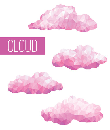 white clouds: Vector set pink clouds geometric in style triangular low poly isolated on white background