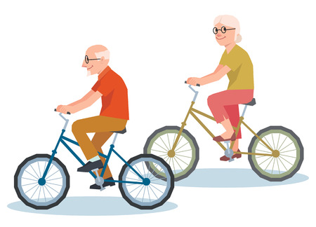 Senior man and a woman riding on a bicycle illustration style low polygon poly Illustration