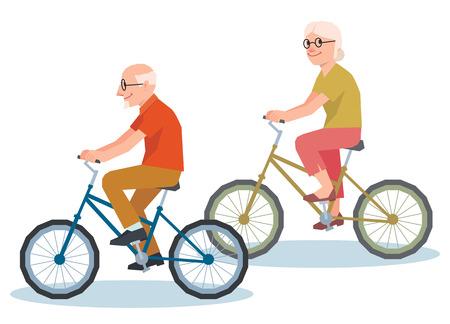 personas mayores: El hombre mayor y una mujer montando en un polígono poli baja de la bicicleta estilo de ilustración