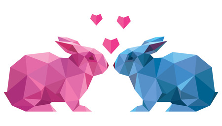 Vector couple of lovers rabbit style low poly Vector Illustration